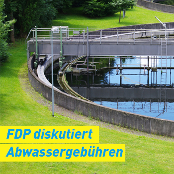 FDP Erding Plakat Banner diskutiert Abwassergebühren