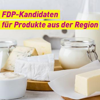 FDP Erding Plakat Banner Kandidaten für Produkte aus der Region