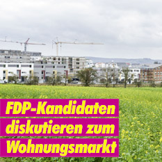 FDP Erding Banner Plakat Kandidaten diskutieren zum Wohnungsmarkt 2